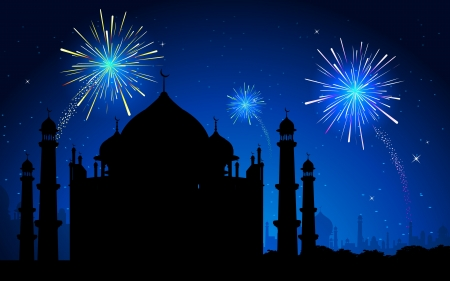 ramzan: ilustraci�n del Taj Mahal en fondo de fuegos artificiales en el cielo Vectores