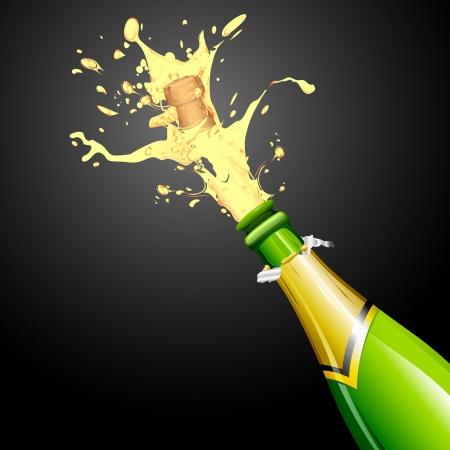 opening party: ilustraci�n de la explosi�n de corcho de botella de champagne