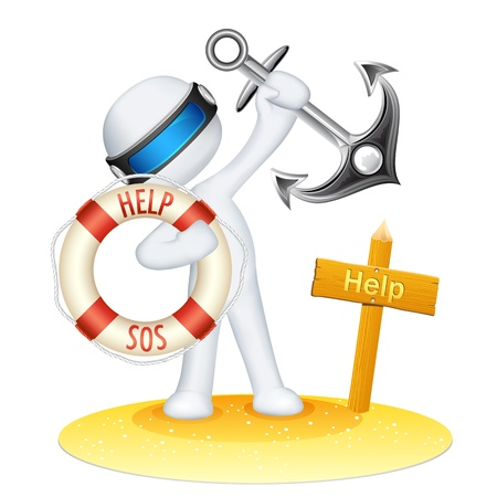 illustration of 3d man in vector fully scalable holding lifebuoy tube and anchor Vector