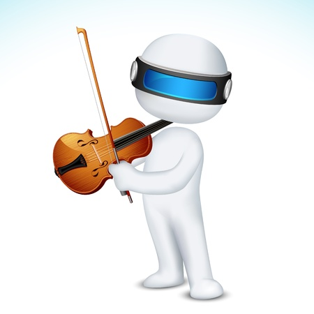 scalable: illustration of 3d man in vector fully scalable playing violin