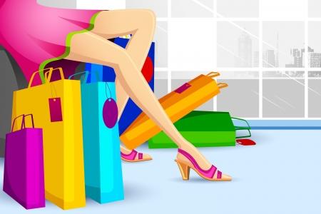Illustration von Lady macht Einkaufen in Verkauf mit bunten Tragetasche