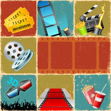 film slate: illustration of collage background of movie with different cinema object Stock Photo
