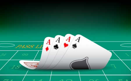 losing money: illustration of set of four aces playing card on casino table