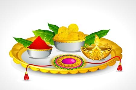 raksha: illustrazione di thali decorato per Raksha Bandhan