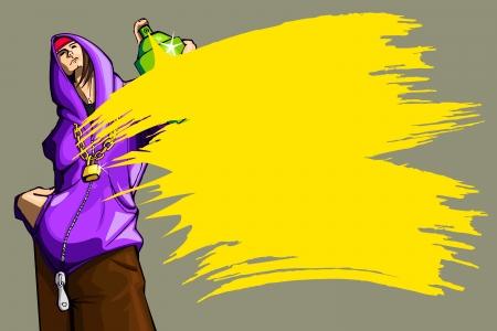 verfblik: illustratie van coole kerel met een fles verf