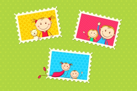 illustration of kids in different photo frame Vector