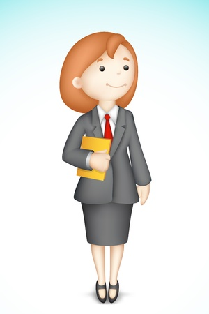 illustration of 3d business lady in vector holding folder Vector