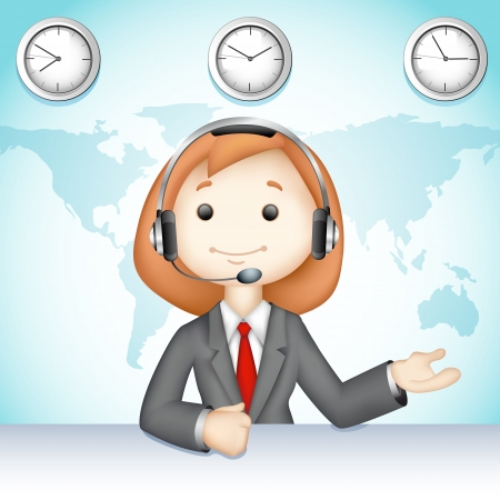 phone operator: illustration of 3d business lady in vector talking on headphone in call center Illustration