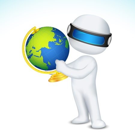 illustration of 3d man in vector fully scalable showing globe Vector
