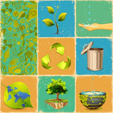 water conservation: illustration of different concept of recycle in collage Illustration