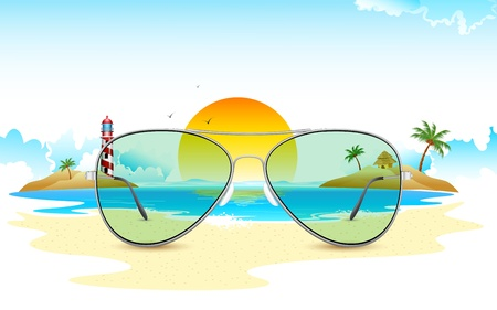 eyewear fashion: illustration of sea view through sun glasses
