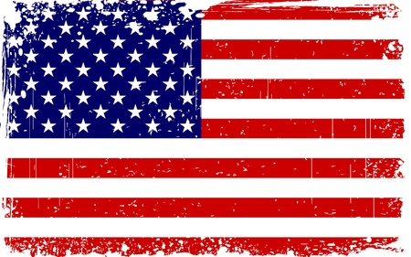 illustration of American Flag with grungy border