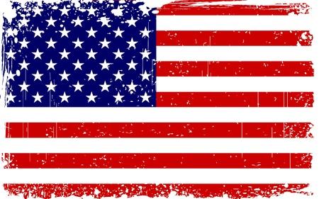 columbus: ilustraci�n de la bandera americana con la frontera del grunge