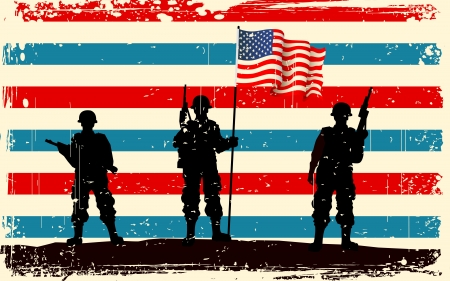 illustration of American soldier standing with American flag Vector