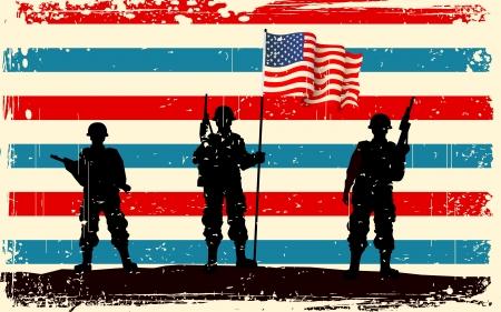 revolucionario: ilustraci�n de la soldado estadounidense de pie con la bandera americana