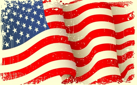illustration of waving American Flag with grungy border illustration