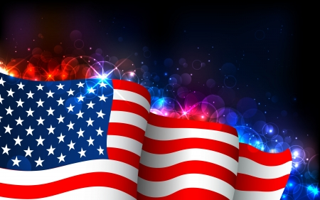 flag pole: illustration of American Flag on abstract glowing background