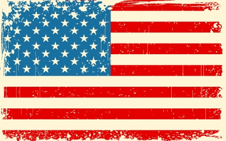 patriotic usa: illustration of American Flag with grungy border in retro color
