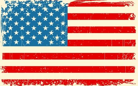 bandera americana: ilustraci�n de la bandera americana con la frontera del grunge en color retro