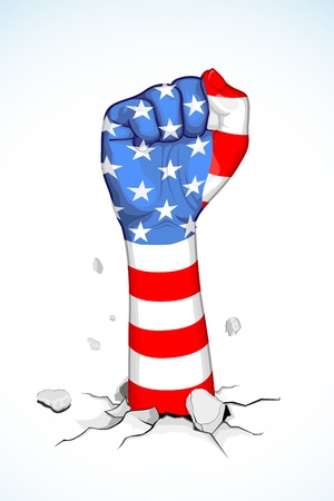 labor strong: illustration of American flag print on fist