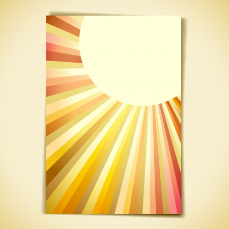 illustration of retro banner with sun burst effect Vector