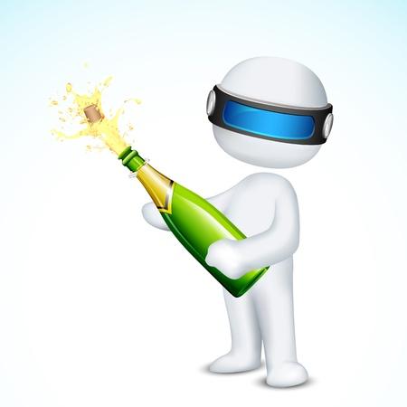 opening party: 3d ilustraci�n del hombre en el vector de corcho de champ�n de apertura totalmente escalable Vectores