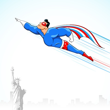 national hero: illustration of super hero in American flag costume flying above Statue of Liberty