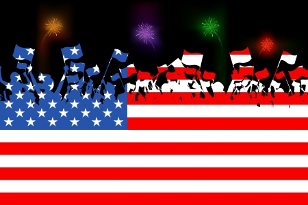 american flag background: illustration of people waving flag on American flag background