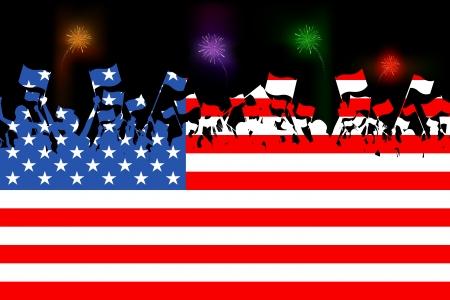 veterans: illustration of people waving flag on American flag background