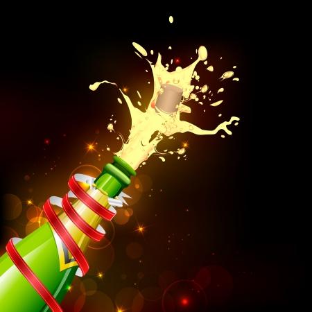 opening party: ilustraci�n de la explosi�n de corcho de botella de champagne en el fondo abstracto