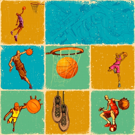 action shot: illustration of different basket ball action in collage background