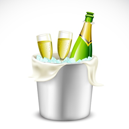 illustration of champagne glass and bottle in bucket full of ice Vector