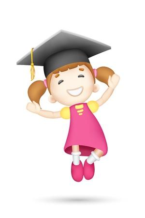 gorros de graduacion: ilustración de niña saltando 3d con mortero de junta