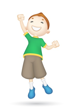 happy people jumping: illustration of jumping 3d boy in vector