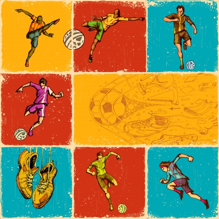 soccer player: illustration of collage of different move of soccer