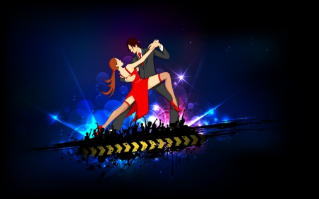 salsa dancing: illustration of dancing couple performing salsa on abstract background Illustration
