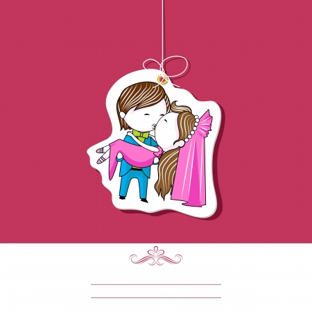 honeymoon: illustration of kissing couple on wedding invitation template Illustration