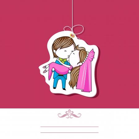 luna de miel: ilustraci�n de la pareja bes�ndose en la plantilla de invitaci�n de boda Vectores