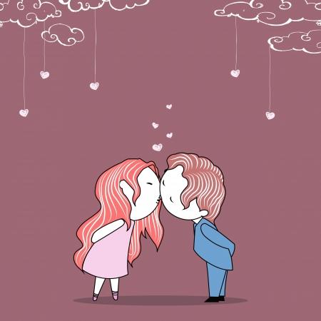 honeymoon: illustration of kissing couple on wedding invitation template Illustration