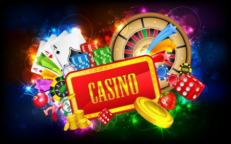 las vegas casino: illustration of different casino object with board