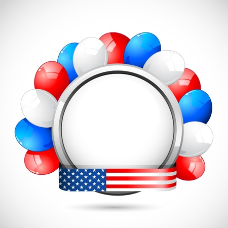 columbus: illustration of colorful balloon with American flag color ribbon