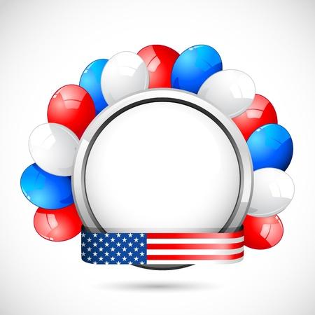 columbus: ilustraci�n de globo de colores con cinta americana color de la bandera Vectores