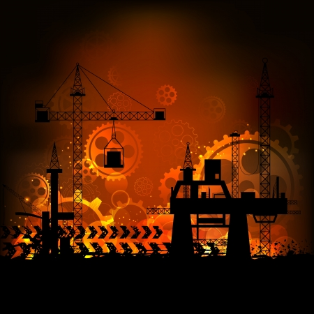 construction background: illustration of industrial backdrop with crane and cogwheel