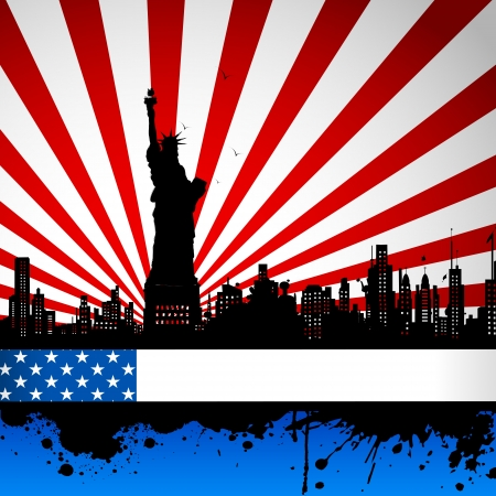 illustration of Statue of Liberty on American flag backdrop Vector