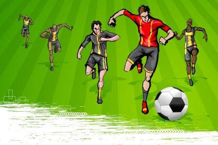 illustration of soccer player playing match on ground Stock Vector - 14355305
