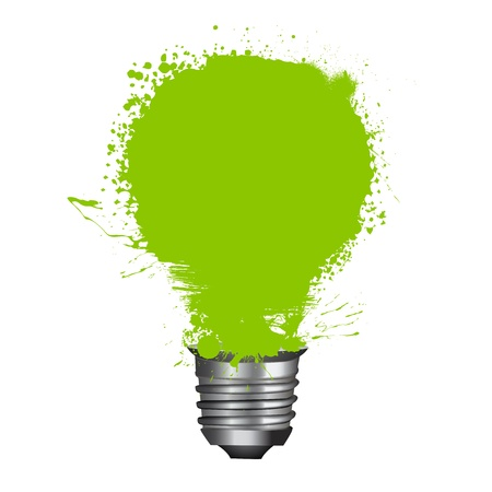 green bulb: illustration of abstract grungy background