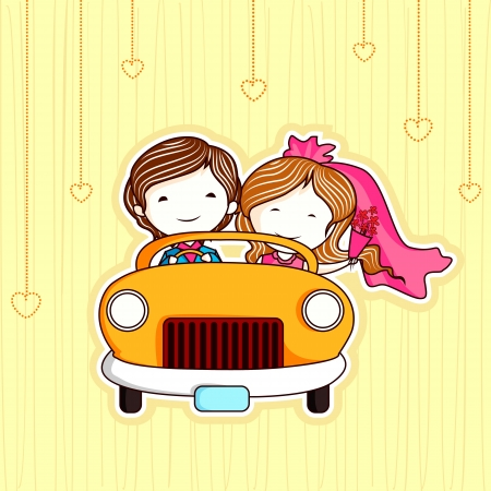en: illustration of just married couple in car
