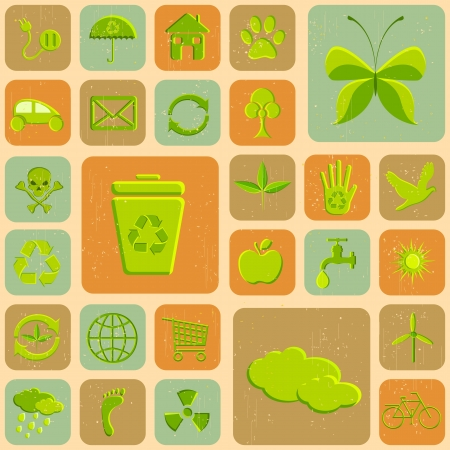 save water: illustration of various recycle icon on grungy background Illustration