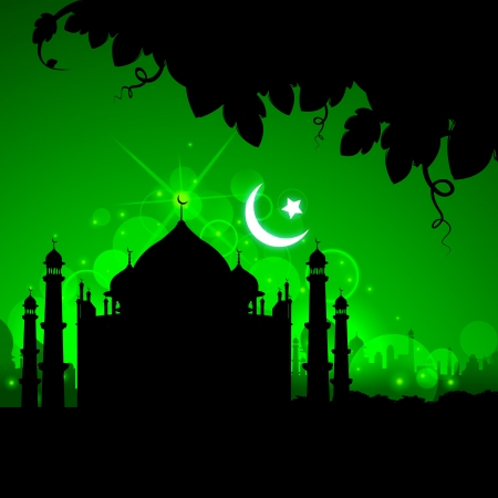 illustration of view of Taj Mahal in Eid night with moon Vector