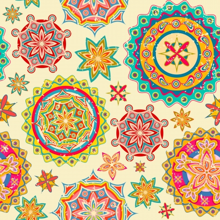 retro christmas: illustration of colorful floral pattern in retro style